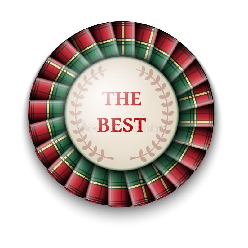 La mejor insignia del precio del tartán verde rojo con la cinta en el fondo blanco libre illustration