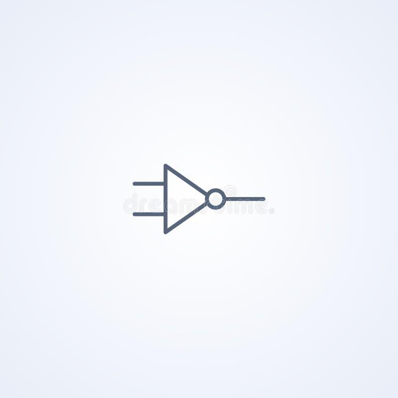 La mejor línea gris símbolo de la lógica ni, NAND, del vector libre illustration