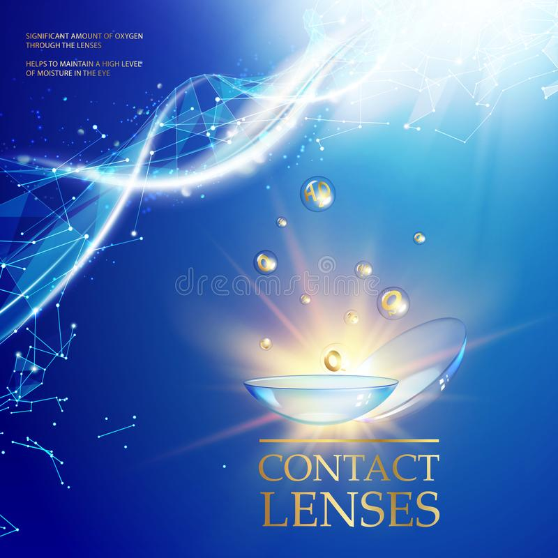 La mejor lente de contacto azul para su color del ojo Ejemplo médico impresionante de los descensos de la salud sobre fondo azul  stock de ilustración