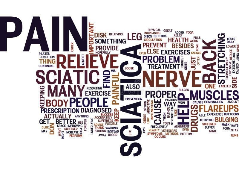 La mejor manera de aliviar concepto de la nube de la palabra del dolor del nervio ciático stock de ilustración
