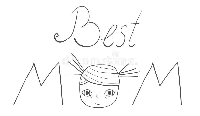 La mejor mano de la mamá escrita letras con una cara de la muchacha libre illustration