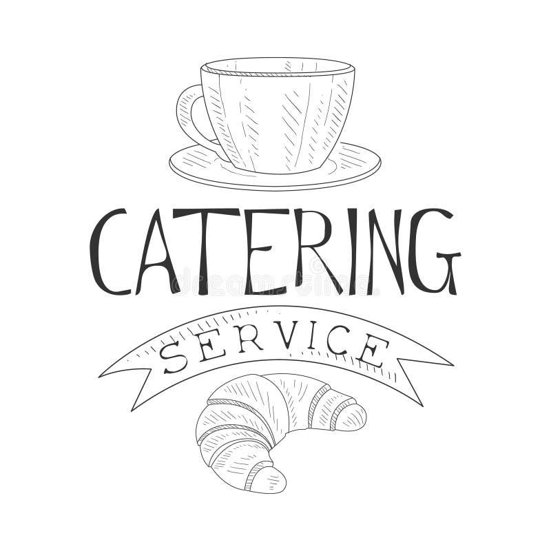 La mejor muestra blanco y negro dibujada del servicio del abastecimiento mano con la plantilla del diseño del café y del cruasán  stock de ilustración