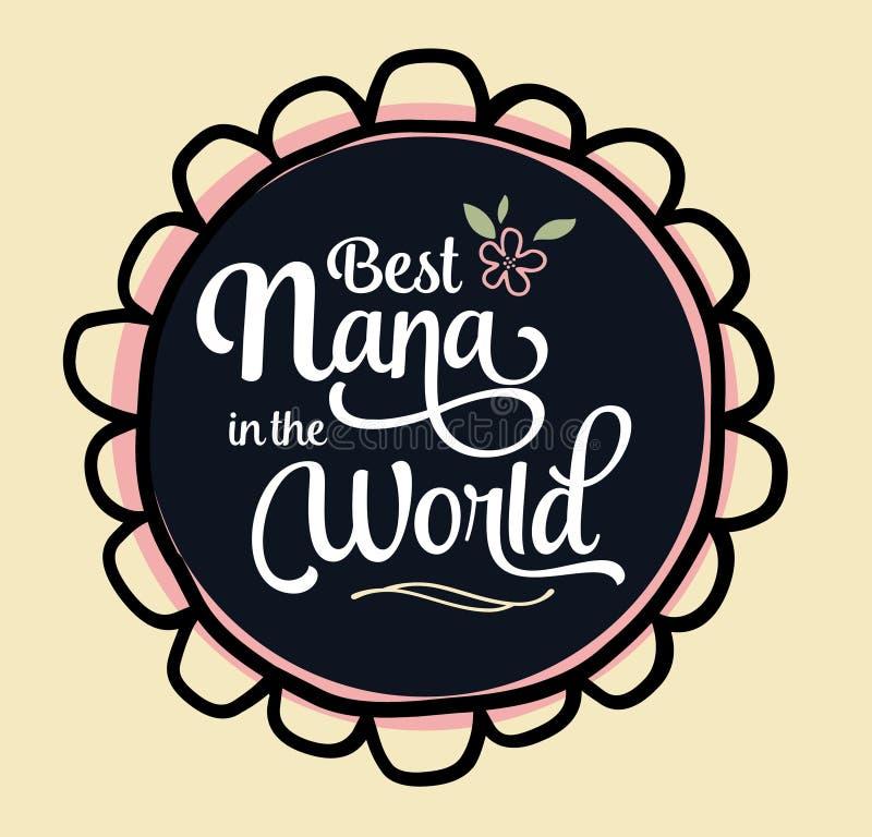 La mejor Nana en el emblema del mundo ilustración del vector