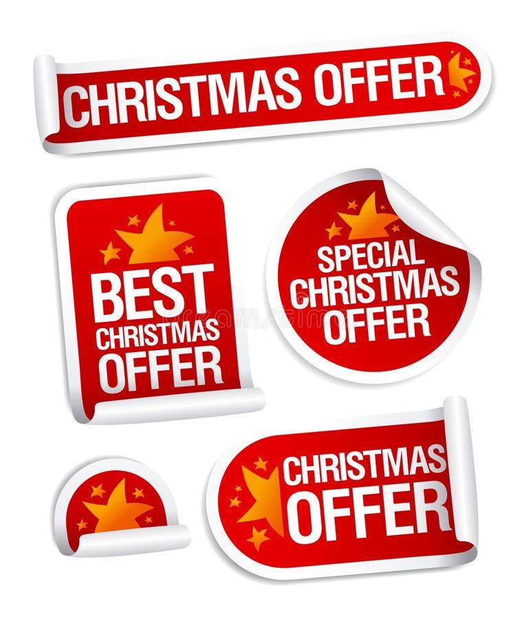 La mejor Navidad ofrece etiquetas engomadas. stock de ilustración