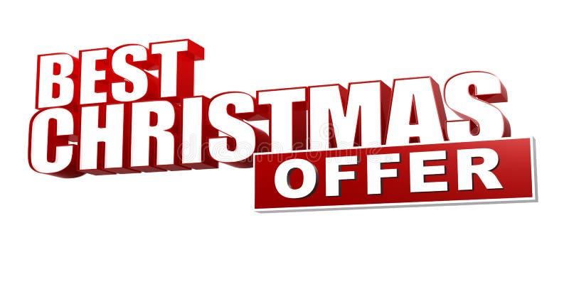 La mejor oferta de la Navidad en las letras 3d y bloque rojos ilustración del vector