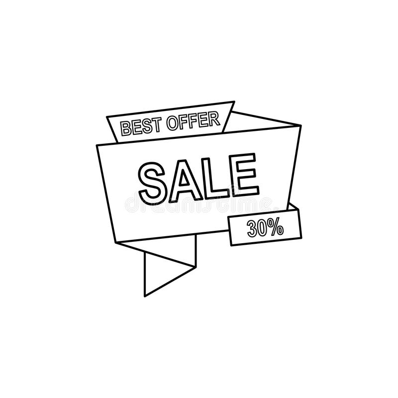la mejor oferta 30 del icono de los descuentos El elemento de la venta firma para los apps móviles del concepto y del web Línea f libre illustration