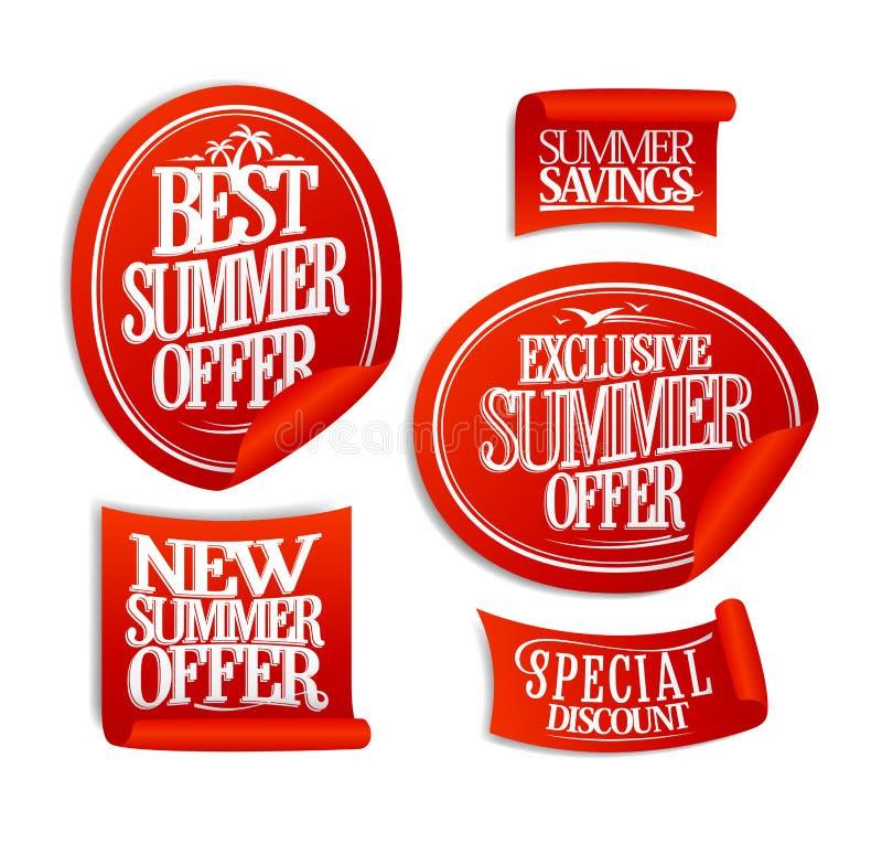 La mejor oferta del verano, nuevas ofertas de la oferta del verano, exclusivas y especiales, etiquetas engomadas de la venta ilustración del vector
