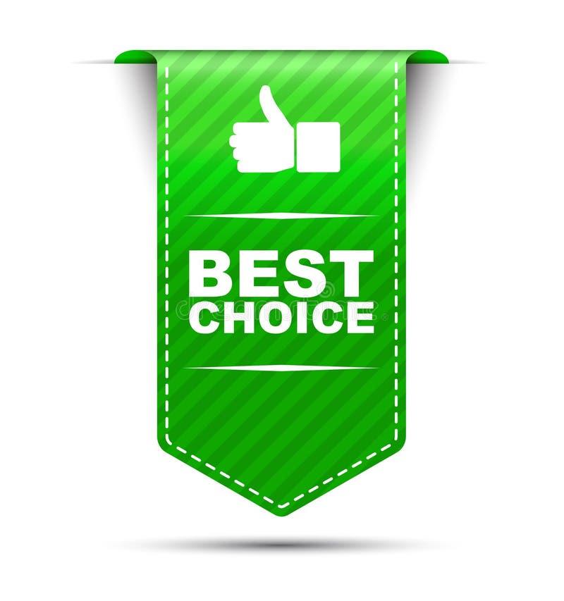 La mejor opción del diseño verde de la bandera ilustración del vector