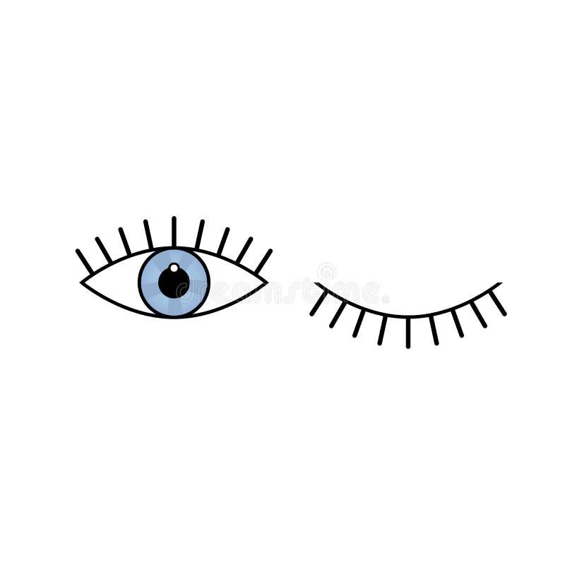 La mejor plantilla del diseño del vector del icono del ojo Ojos abiertos y cerrados psicodélicos stock de ilustración