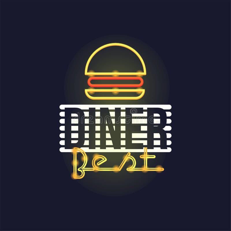 La mejor señal de neón retra de la cena, letrero que brilla intensamente brillante del vintage, ejemplo ligero del vector de la b libre illustration