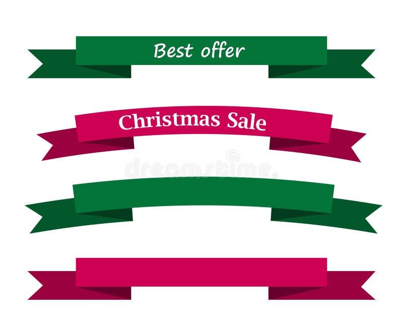 La mejor venta de la Navidad de la oferta en cinta verde y roja y ribb en blanco stock de ilustración
