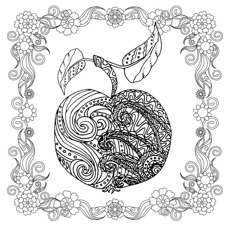 La mela disegnata a mano nello zentangle floreale della struttura ha stilizzato il monocromio royalty illustrazione gratis
