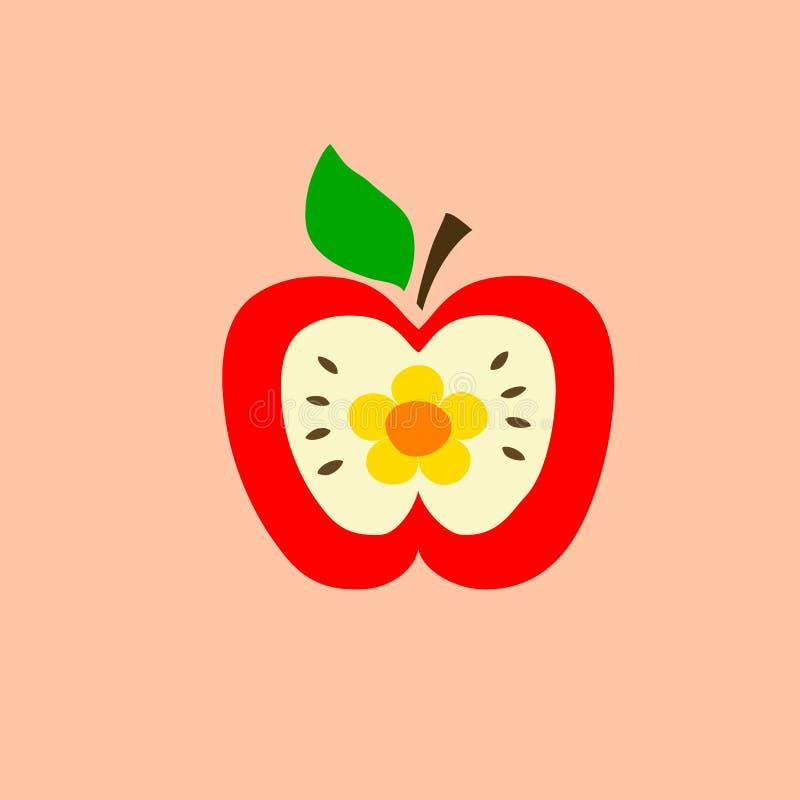 La mela rossa di kawaii disegnato a mano di scarabocchio tagliata a metà con i semi fiorisce la foglia verde sul gambo su fondo r illustrazione di stock