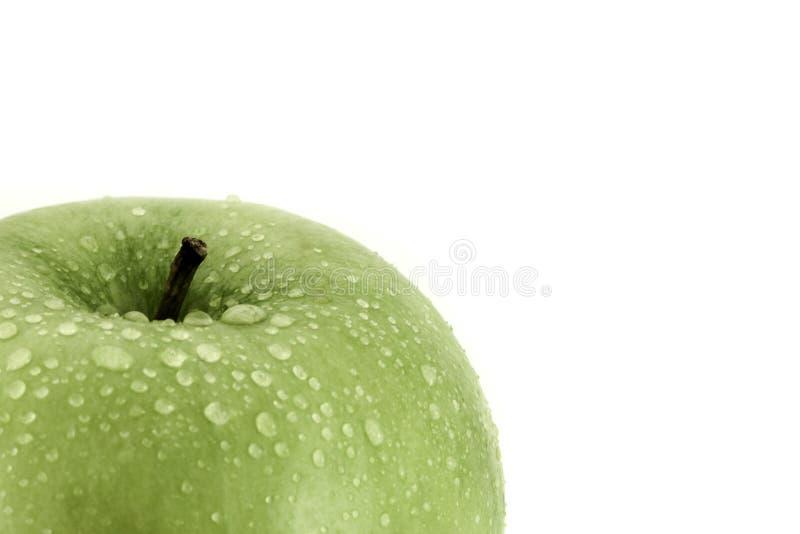 La mela verde con il primo piano delle goccioline di acqua ha sparato su bianco con lo spazio della copia per testo immagini stock libere da diritti