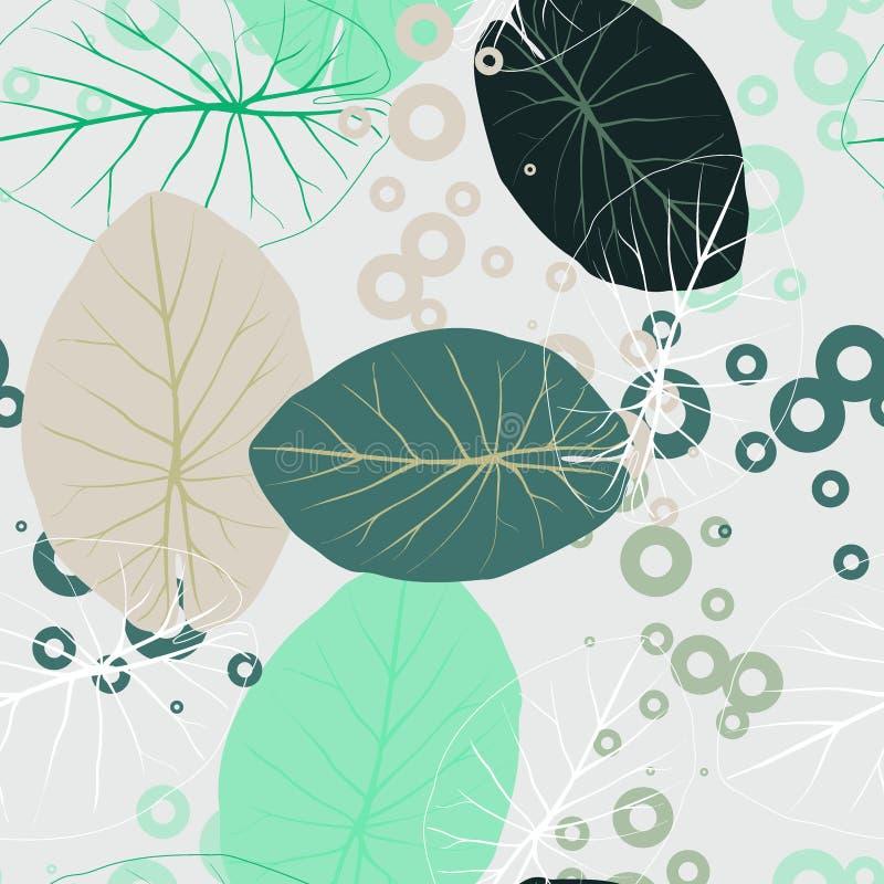 La menta del verano y el bosque tropical azul sale humor brillante del modelo inconsútil para la tela del fashoin, libro del pape libre illustration
