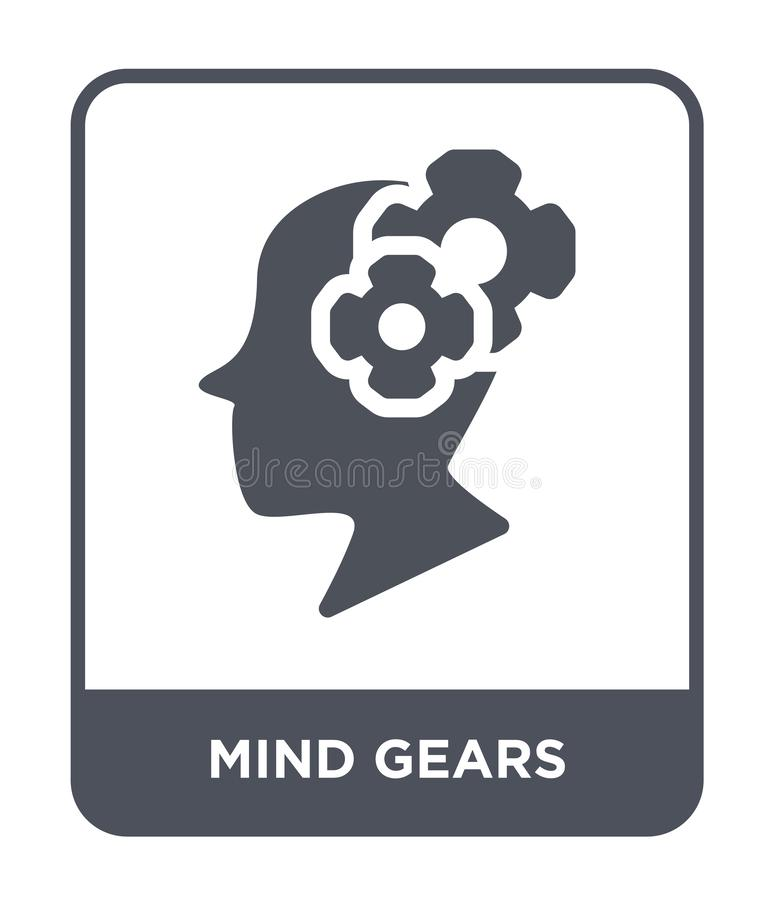 la mente innesta l'icona nello stile d'avanguardia di progettazione icona degli ingranaggi di mente isolata su fondo bianco la me royalty illustrazione gratis