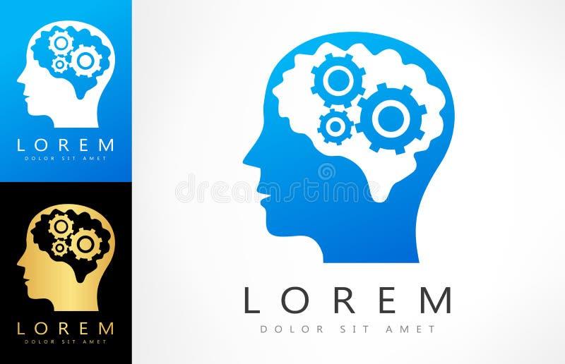 La mente inventiva del logotipo piensa pensamientos de la tecnología en recortes del engranaje ilustración del vector