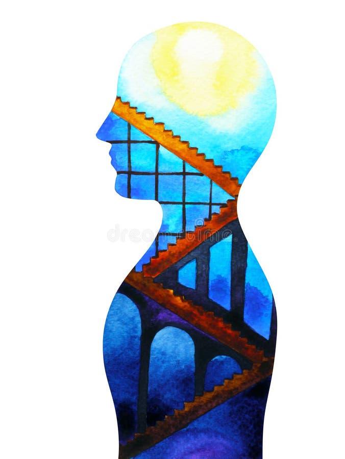 La mente y el cuerpo humanos abstractos de la conexión asolean la pintura de la acuarela del poder stock de ilustración