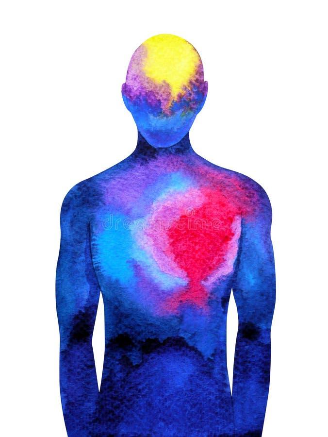 La mente y el cuerpo humanos abstractos de la conexión conectan el cerebro y el corazón ilustración del vector