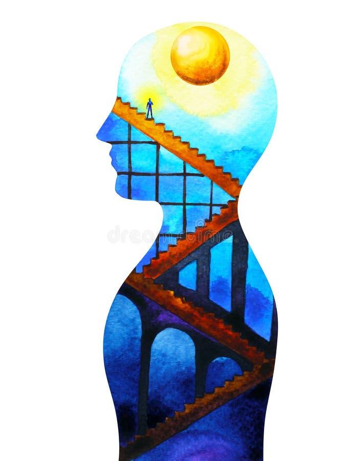 La mente y el cuerpo humanos abstractos de la conexión están en la luna la pintura de la acuarela del poder ilustración del vector