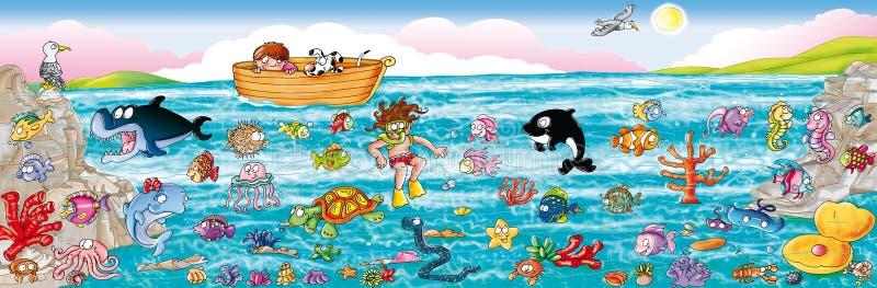 La mer avec le fond de la mer, et tous ses poissons illustration de vecteur