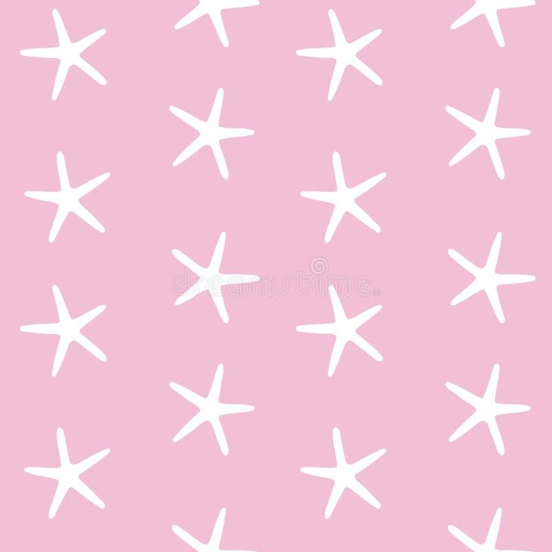 La mer blanche tient le premier rôle des étoiles de mer d'océan sur une couture rose de modèle de fond illustration stock