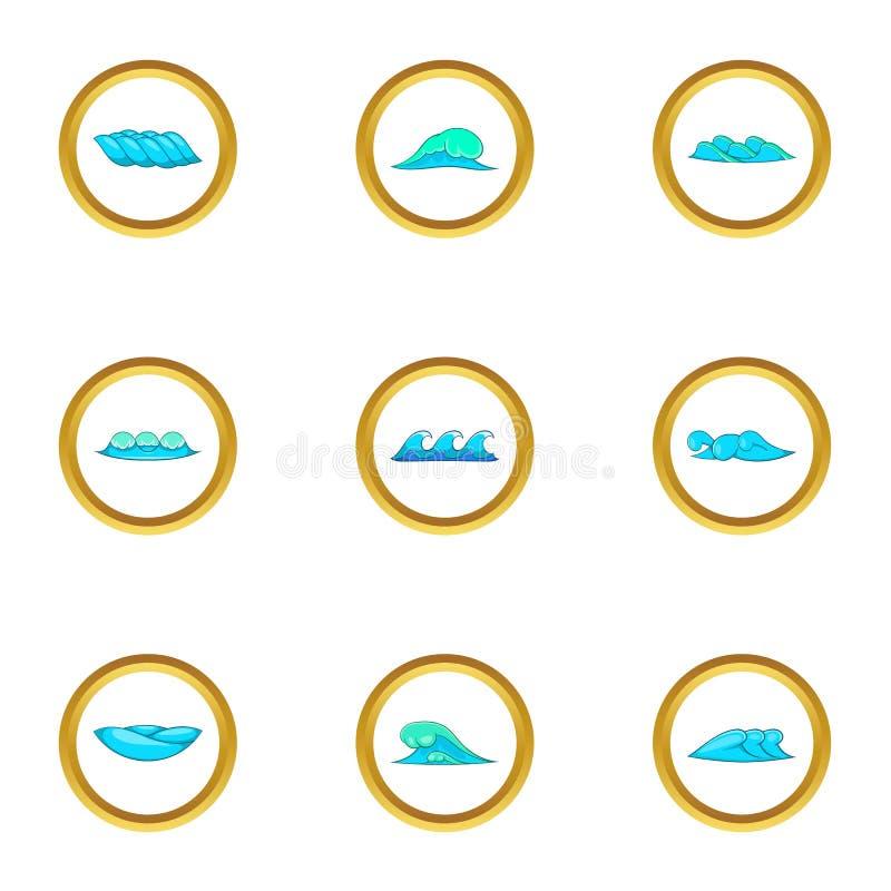 La mer bleue ondule des icônes réglées, style de bande dessinée illustration stock