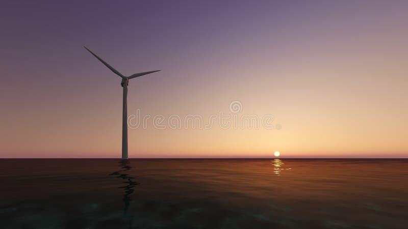 La mer 3D de générateur de vent rendent illustration libre de droits