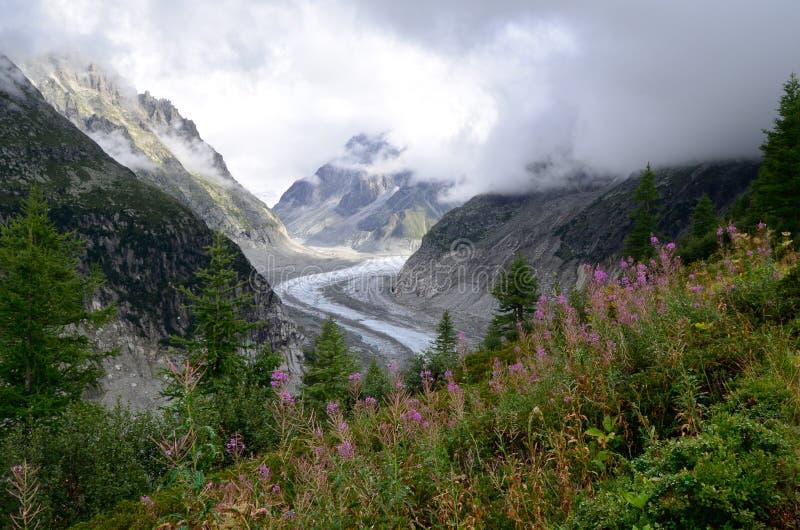 La Mer de Glace Chamonix, franska fjällängar royaltyfri bild