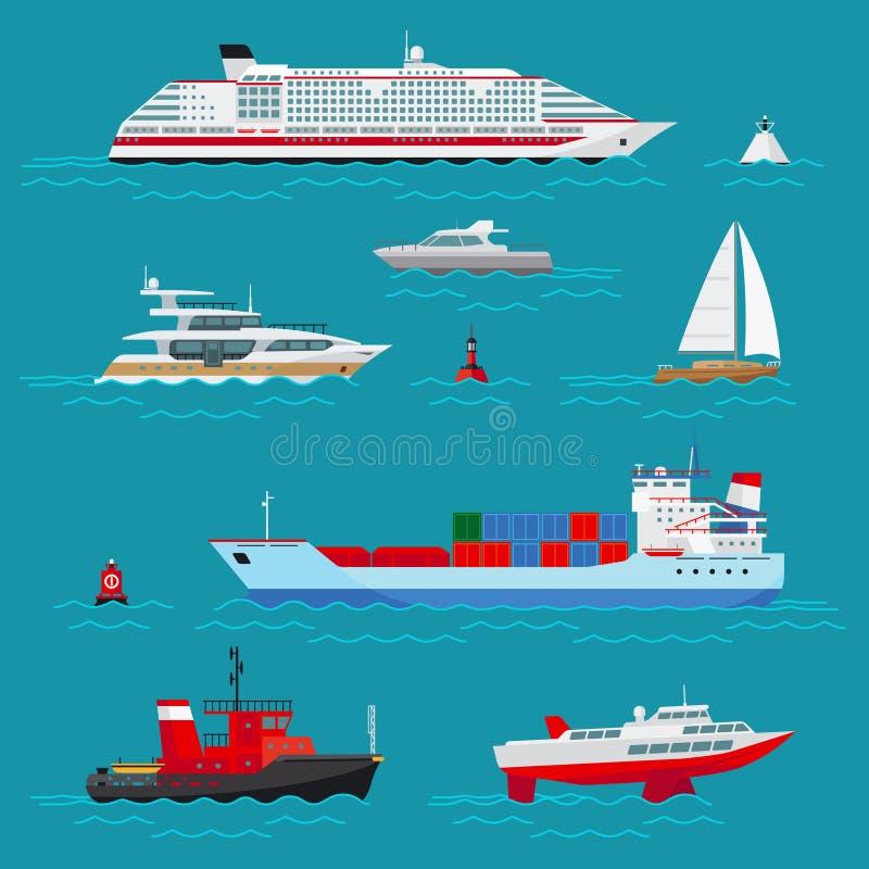 La mer embarque les icônes plates illustration de vecteur