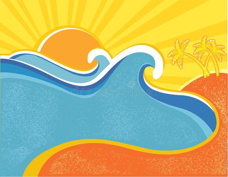 La mer ondule l'affiche avec des paumes. illustration stock