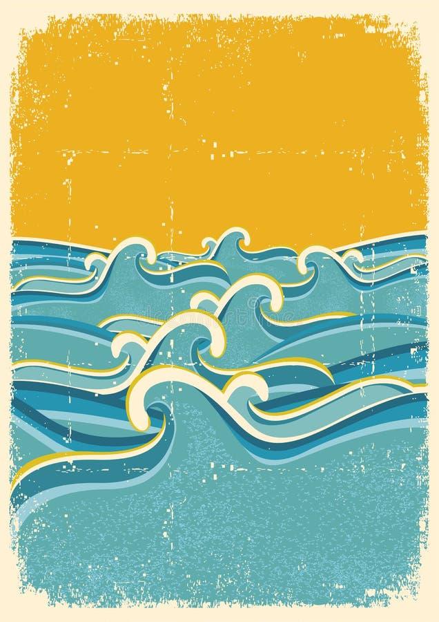 La mer ondule l'horizon sur le vieux papier illustration de vecteur