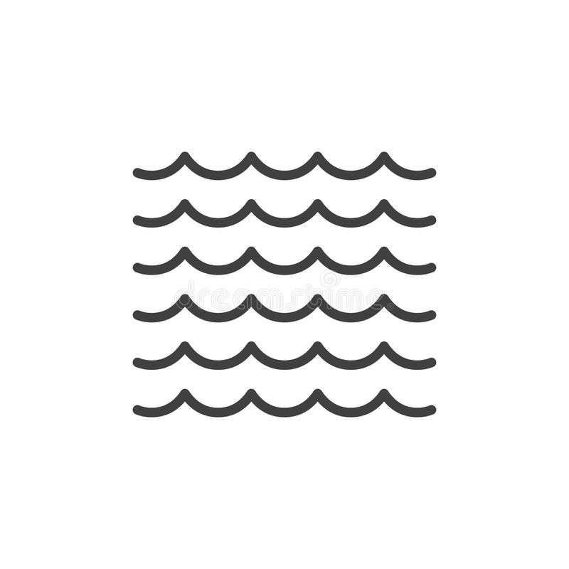 La mer ondule la ligne icône illustration stock