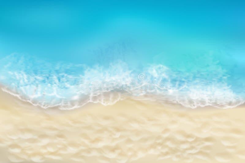 La mer ondule sur la plage sablonneuse Illustration de vecteur illustration de vecteur