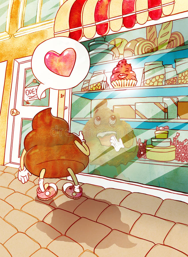 La merde est tombée amoureuse de gâteau illustration de vecteur