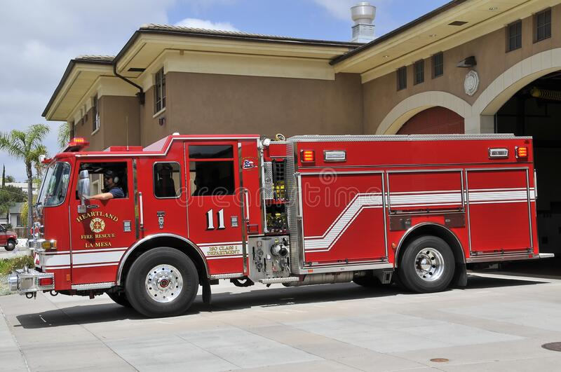 Fire Truck ready to go on action in La Mesa royalty free stock image