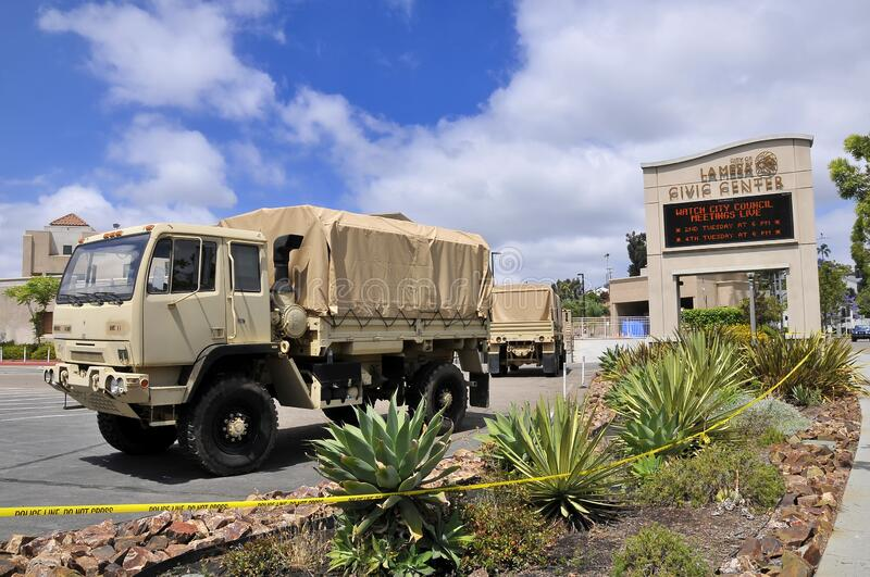 National Guard patrolling streets in La Mesa after riots stock photo