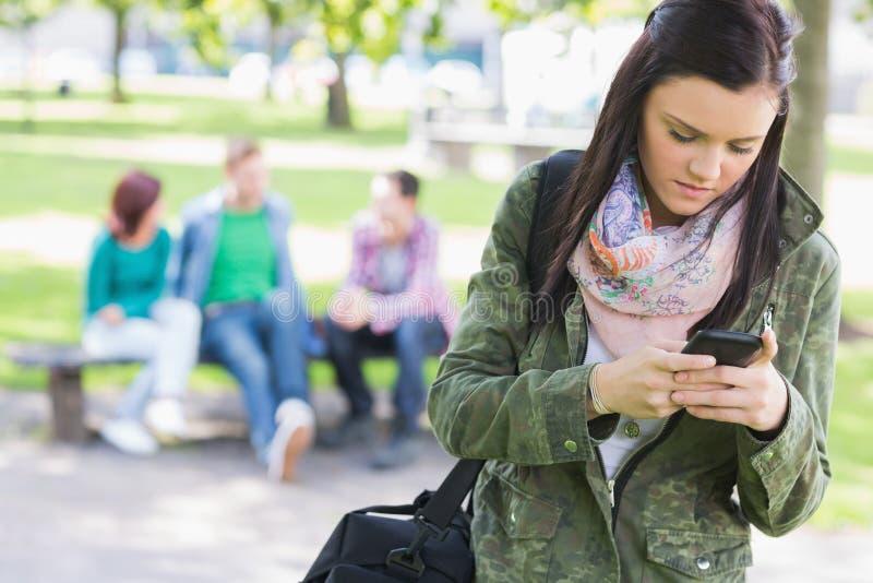 La messagerie textuelle d'étudiante avec les étudiants brouillés en parc images stock