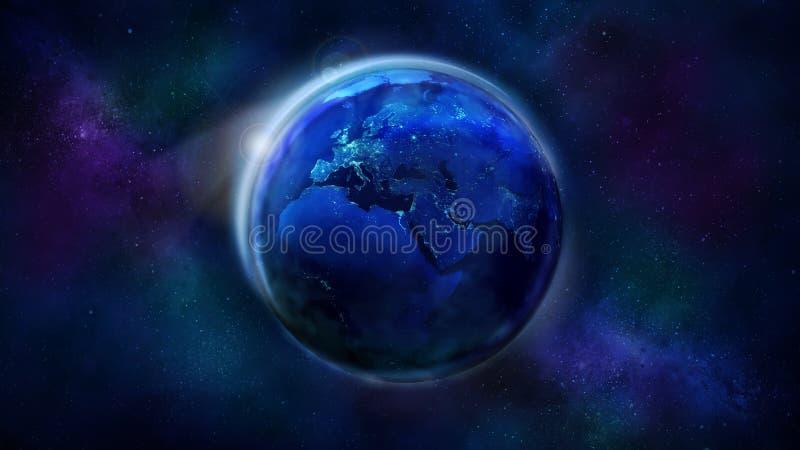 La metà di notte della terra da spazio che mostra l'Africa, Europa e l'Asia immagine stock libera da diritti