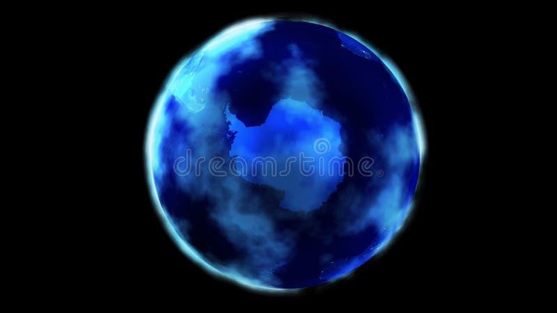 La metà di notte della terra da spazio che mostra l'Antartide illustrazione vettoriale