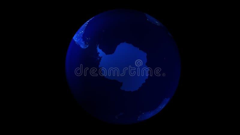 La metà di notte della terra da spazio che mostra l'Antartide royalty illustrazione gratis