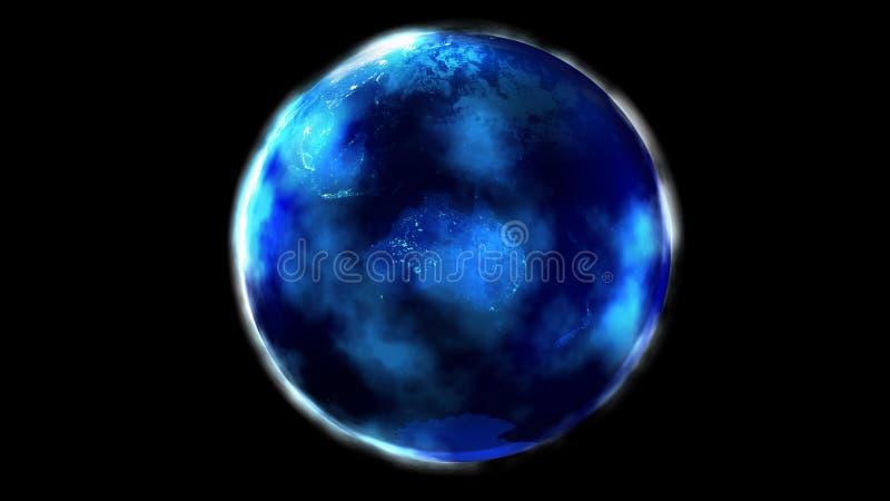La metà di notte della terra da spazio che mostra l'Asia, Oceania, l'Australia e l'Antartide illustrazione vettoriale