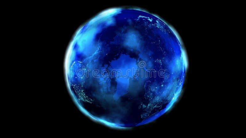 La metà di notte della terra da spazio che mostra Nord America, l'Asia ed Europa royalty illustrazione gratis