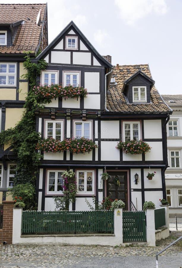 La metà ha armato in legno la casa in Quedlinburg fotografie stock libere da diritti