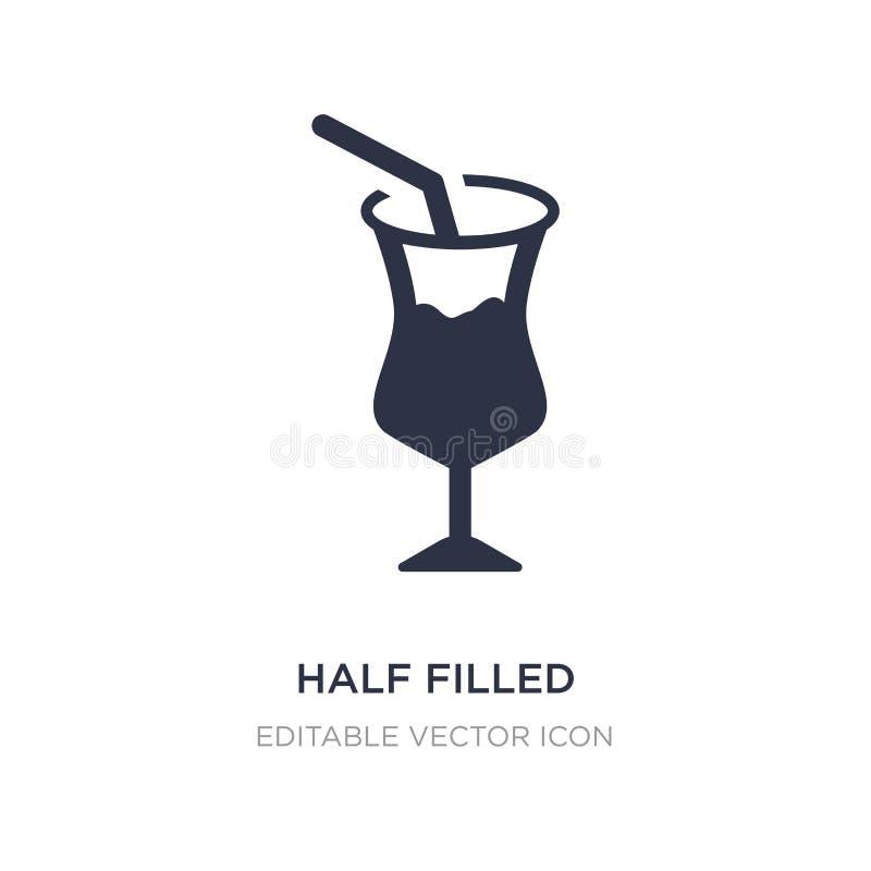 la metà ha riempito l'icona di vetro di cocktail su fondo bianco Illustrazione semplice dell'elemento dal concetto dell'alimento illustrazione vettoriale