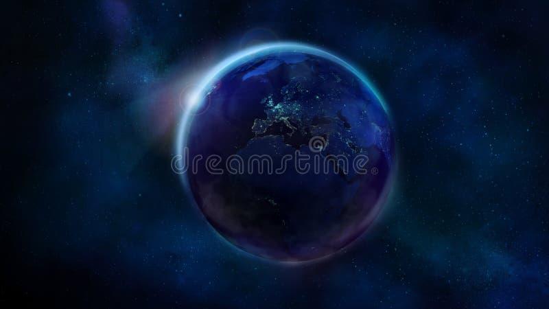 La met? di notte della terra da spazio che mostra l'Africa, Europa e l'Asia immagine stock