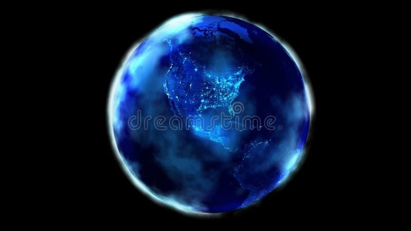 La met? di notte della terra dal Nord e dal Sudamerica di rappresentazione dello spazio royalty illustrazione gratis