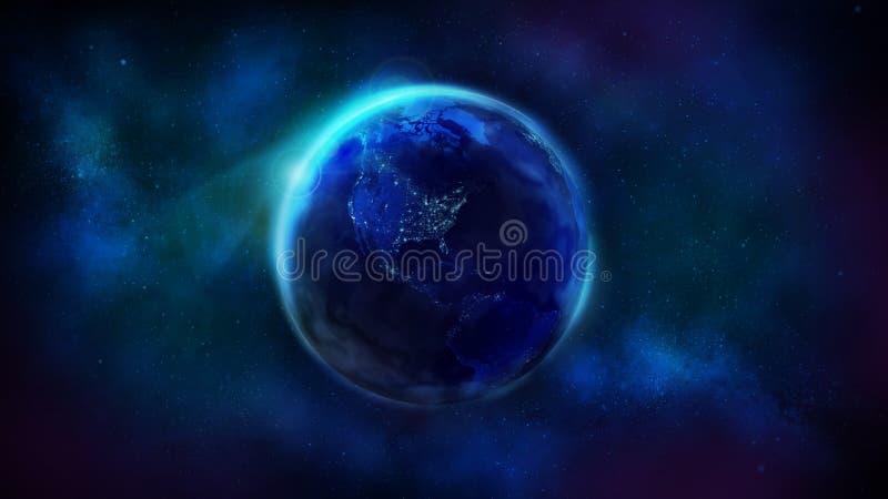 La met? di notte della terra dal Nord e dal Sudamerica di rappresentazione dello spazio immagini stock
