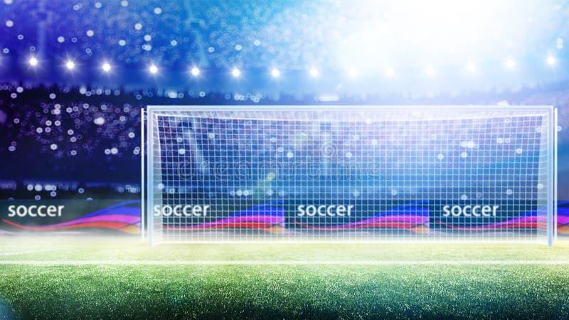 La meta del fútbol del estadio o la meta 3d del fútbol rinde imagen de archivo