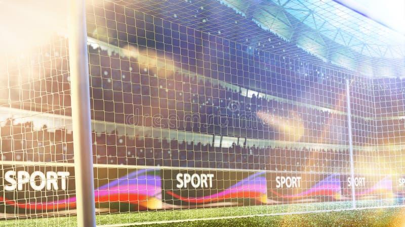 La meta del fútbol del estadio o la meta 3d del fútbol rinde fotografía de archivo libre de regalías